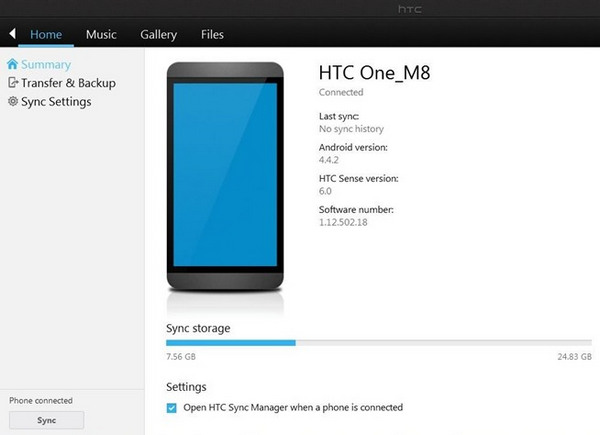 htc sync manager backup